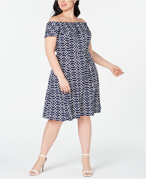 Love Squared Trendy Plus Size Off-The-Shoulder Printed Dress
