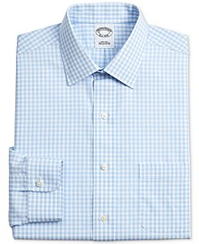 Men's Regent Slim-Fit Non-Iron Light Blue Gingham Check Supima Cotton Dress Shirt