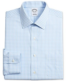 Brooks Brothers Men's Regent Slim-Fit Non-Iron Light Blue Gingham Check Supima Cotton Dress Shirt