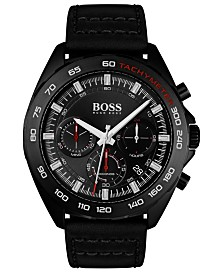 BOSS Men's Chronograph Intensity Black Leather Strap Watch 44mm