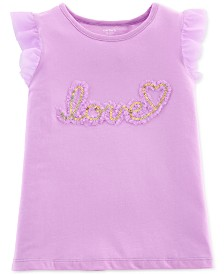 Carter's Little & Big Girls Love Graphic Flutter Top