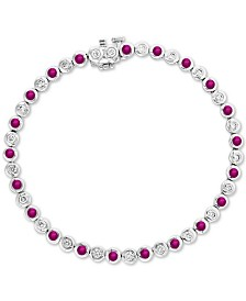 EFFY® Certified Ruby (1-3/8 ct. t.w.) & Diamond (3/4 ct. t.w.) Bangle Bracelet in 14k White Gold
