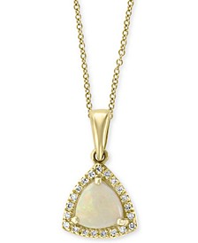 "EFFY® Opal (9/10 ct. t.w.) & Diamond Accent Halo 18"" Pendant Necklace in 14k Gold"