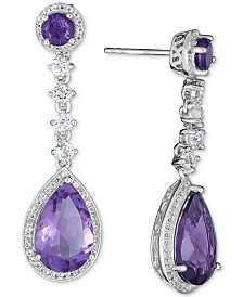 Blue Topaz (11-1/5 ct. t.w.) & White Topaz (1/5 ct. t.w.) Drop Earrings in Sterling Silver (also available in Amethyst)