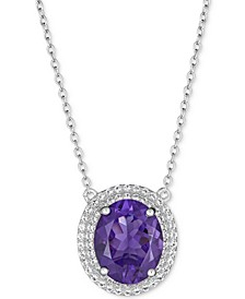 "Amethyst (5-1/2 ct. t.w.) & White Topaz (1 ct. t.w.) 17"" Pendant Necklace in Sterling Silver"