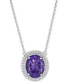 """Blue Topaz (5-1/2 ct. t.w.) & White Topaz (1 ct. t.w.) 17"""" Pendant Necklace in Sterling Silver (also available in Amethyst)"""