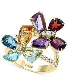 EFFY® Multi-Gemstone (6-1/2 ct. t.w.) & Diamond (3/8 ct. t.w.) Flower Ring in 14k Gold
