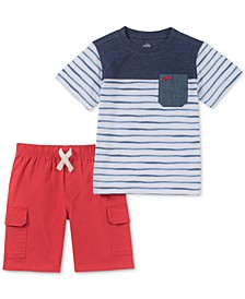 Kids Headquarters Baby Boys 2-Pc. Colorblocked Striped T-Shirt & Shorts Set