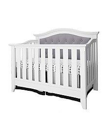 Magnolia 4-in-1 Convertible Upholstered Crib- White,Dark Gray