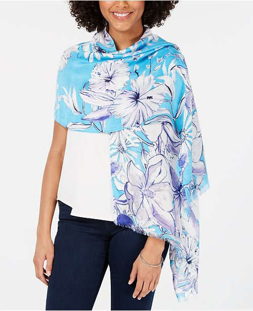 INC International Concepts I.N.C. Sketched Flowers Pashmina