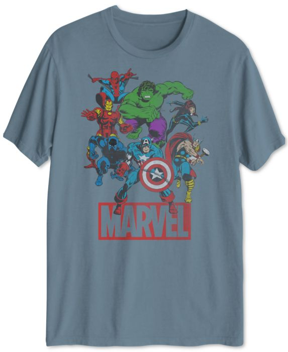 Marvel Vintage Group Mens Graphic T-Shirt, Blue, Size: XL