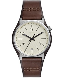 Fossil Mens Barstow silver tone case brown leather strap