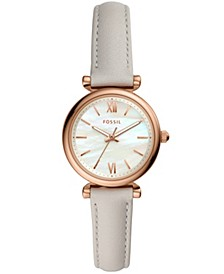 Women's mini Carlie rose tone off white leather strap