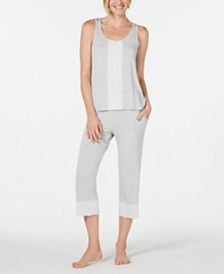 Charter Club Lace-Trim Pajama Top & Bottoms Set, Created for Macy's