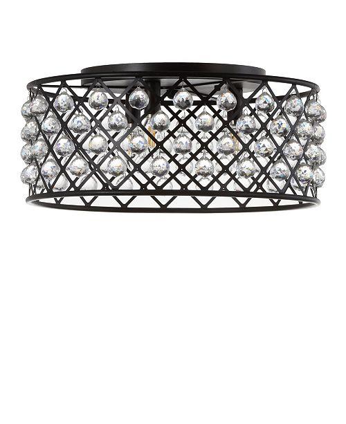 JONATHAN Y Gabrielle Metal/Crystal LED Flush Mount Ceiling Light