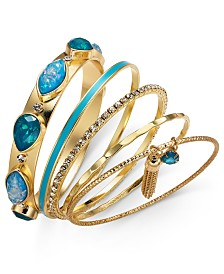 Thalia Sodi Gold-Tone 5-Pc. Set Crystal, Stone & Chain Tassel Bangle Bracelets, Created for Macy's