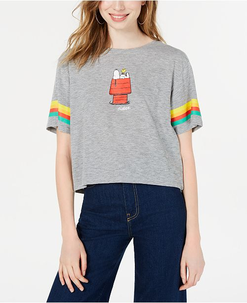 Freeze Juniors' Peanuts Snoopy Striped-Sleeve Graphic T-Shirt