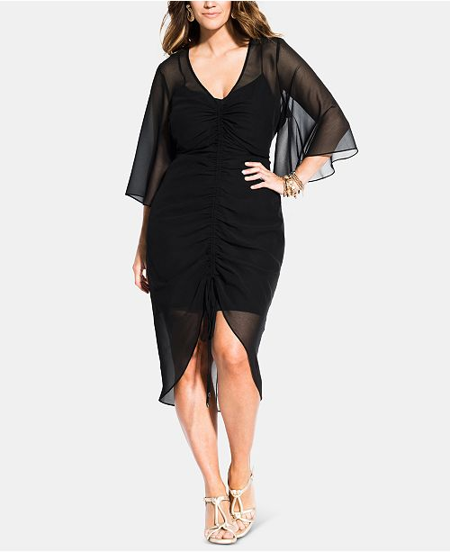 City Chic Trendy Plus Size Drawn Up Ruched Dress & Reviews ...