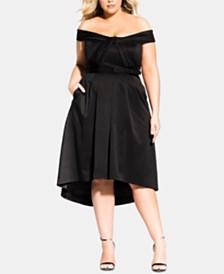 f3bfca7636d City Chic Trendy Plus Size Off-The-Shoulder A-Line Dress