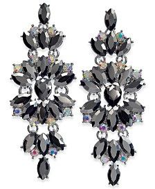 I.N.C. Silver-Tone Stone & Crystal Statement Drop Earrings, Created for Macy's