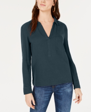 1.state T-shirts COTTON SPLIT-NECK SHIRT