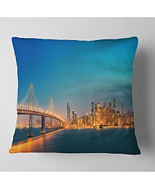 "Designart 'San Francisco Skyline At Night' Cityscape Throw Pillow - 26"" x 26"""