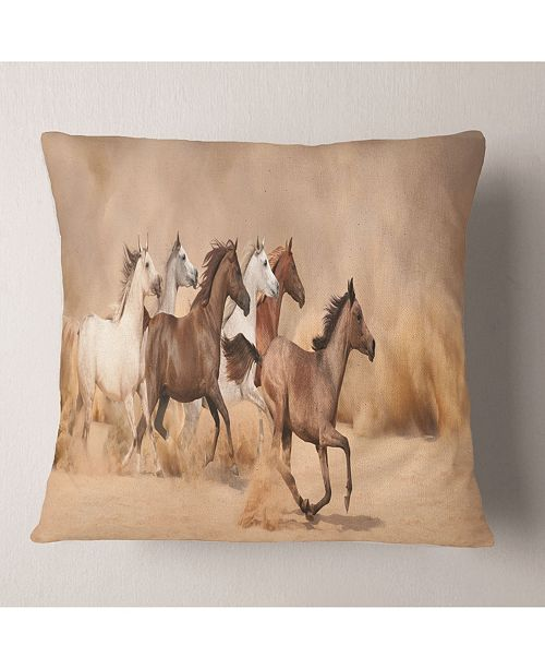 "Design Art Designart 'Herd Gallops In Sand Storm' Photography Throw Pillow - 16"" x 16"""