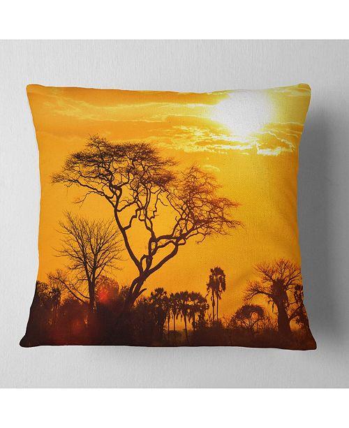 Groovy Designart Orange Glow Of African Sunset Landscape Printed Throw Pillow 26 X 26 Inzonedesignstudio Interior Chair Design Inzonedesignstudiocom