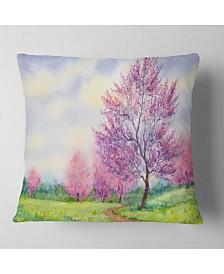 "Designart 'Purple Spring Landscape' Floral Throw Pillow - 26"" x 26"""