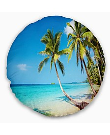 "Designart 'Tropical Beach' Photography Seascape Throw Pillow - 16"" Round"
