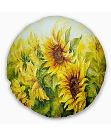 "Designart 'Bright Yellow Sunny Sunflowers' Floral Painting Throw Pillow - 16"" Round"