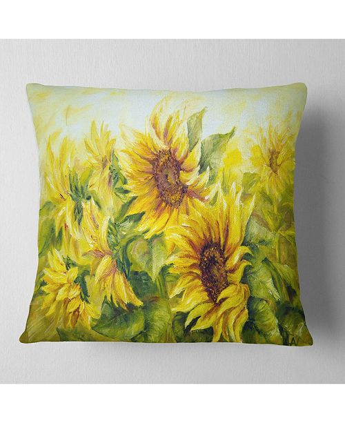 Pleasing Designart Bright Yellow Sunny Sunflowers Floral Painting Throw Pillow 26 X 26 Unemploymentrelief Wooden Chair Designs For Living Room Unemploymentrelieforg