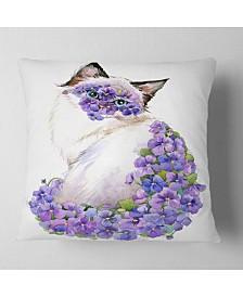 "Designart 'Cute Cat With Blue Flowers' Animal Throw Pillow - 26"" x 26"""
