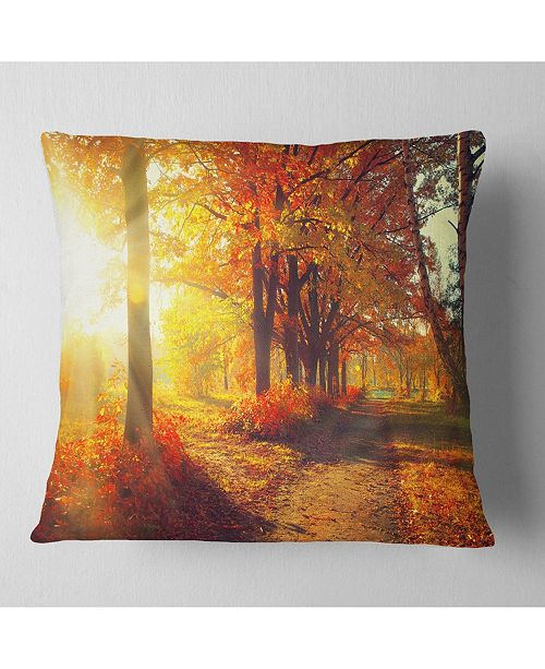 "Design Art Designart 'Autumnal Trees In Sunrays' Landscape Printed Throw Pillow - 16"" x 16"""