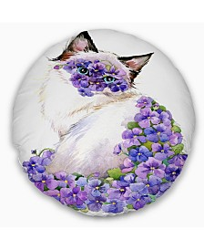 "Designart 'Cute Cat With Blue Flowers' Animal Throw Pillow - 20"" Round"