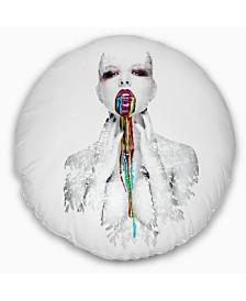 "Designart 'Woman With Creative Bright Make Up' Portrait Throw Pillow - 20"" Round"