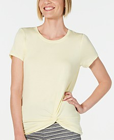 Alfani Ultra Soft Twist-Front Pajama Top, Created for Macy's