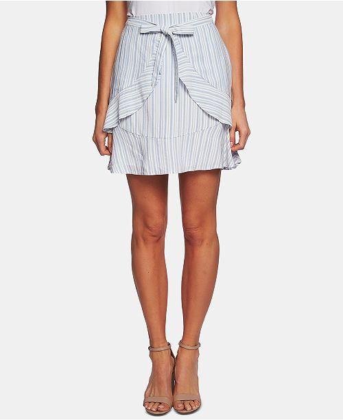 CeCe Striped Tie-Waist Flounce Skirt