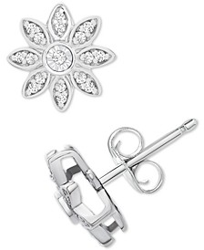 Diamond Flower Stud Earrings (1/10 ct. t.w.) in Sterling Silver