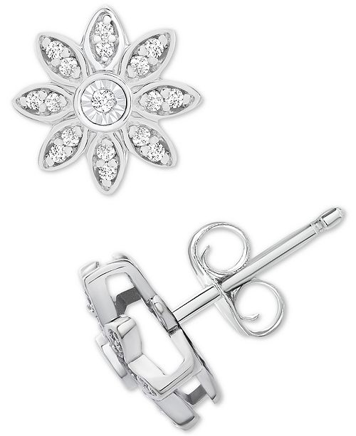 Diamond Flower Stud Earrings 1 10 Ct T W In Sterling Silver