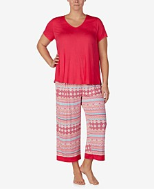 Solid Short-Sleeve Top and Printed Capri Pants Pajama Set