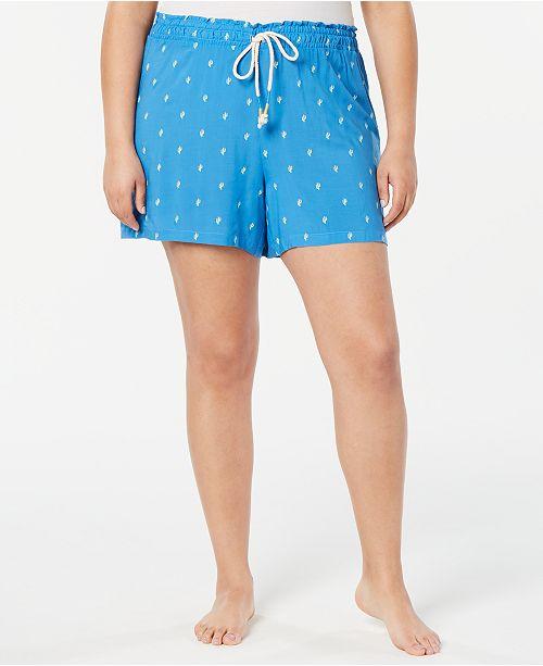 Jenni Plus Size Light Weight Printed Pajama Shorts, Created for Macy's