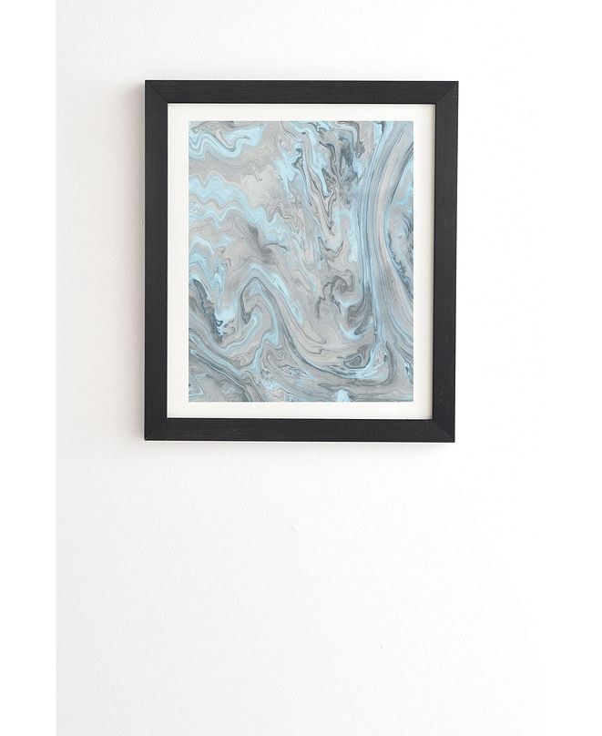 Deny Designs Ice Blue and Gray Marble Framed Wall Art