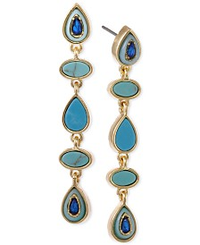Laundry by Shelli Segal Gold-Tone Turquoise-Look & Blue Stone Linear Earrings