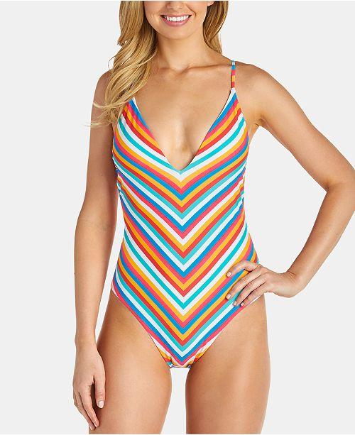 Raisins Juniors' Tahiti Stripe Golden One-Piece Swimsuit