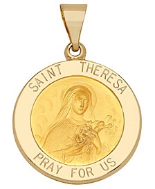 Saint Theresa Medal Pendant in 14k Yellow Gold