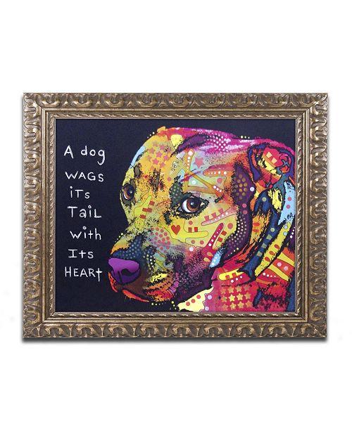 """Trademark Global Dean Russo 'Gratitude Pitbull' Ornate Framed Art - 14"""" x 11"""" x 0.5"""""""