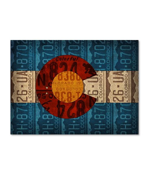 "Trademark Global Design Turnpike 'Colorado State Flag License Plates' Canvas Art - 32"" x 24"" x 2"""