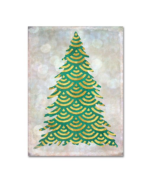 """Trademark Global Cora Niele 'Decorated Green and Gold Xmas Tree' Canvas Art - 19"""" x 14"""" x 2"""""""