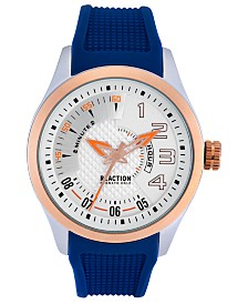 Kenneth Cole Reaction Men's Blue Silicone Strap Watch 47mm